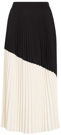 High Waisted Pleated Color Block Midi Skirt | Express