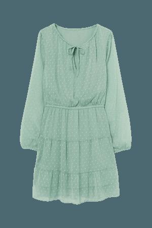 Plumeti Chiffon Dress - Green