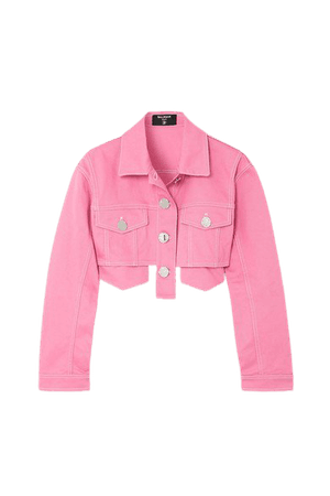 Cropped Denim Jacket - Pink