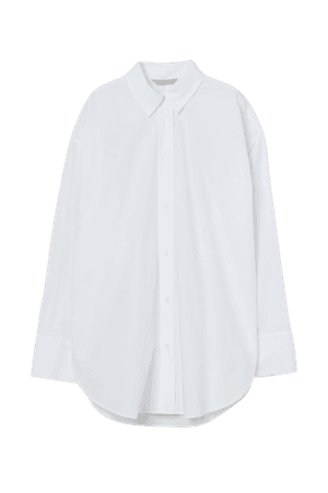 Cotton Poplin Shirt - White - Ladies | H&M US