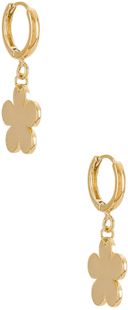 Cloverpost Daisy Huggie Hoop Earrings in Yellow Gold   REVOLVE