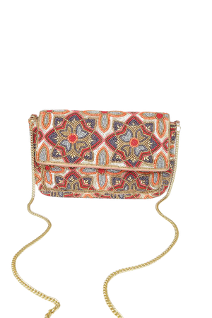Gold Multi Beaded Clutch - Floral Beaded Clutch - Sequin Clutch - Lulus