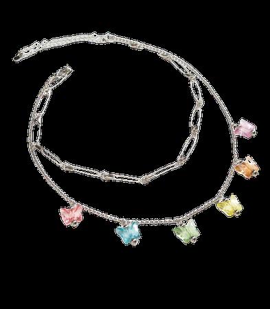 FULL TILT Safety & Butterfly Layered Necklace - SILVE - T120630NS01 | Tillys
