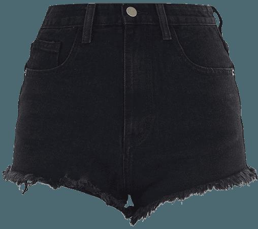 Plt Black Wash Frayed Hem Denim Shorts | PrettyLittleThing USA