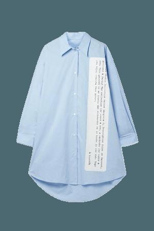 Oversized Printed Cotton-poplin Mini Shirt Dress - Sky blue