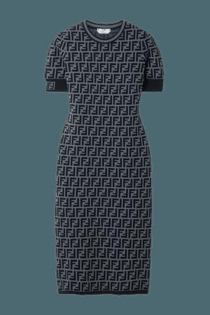 Gray Jacquard-knit midi dress   Fendi   NET-A-PORTER