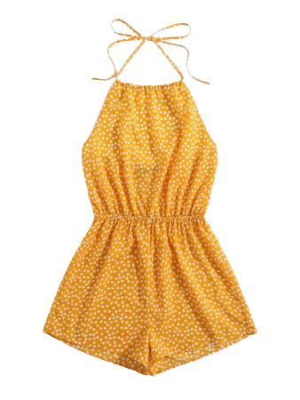 Self Tie Ditsy Floral Halter Romper   SHEIN USA yellow