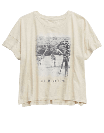 Aerie Giraffe Graphic Oversized Cropped T-Shirt