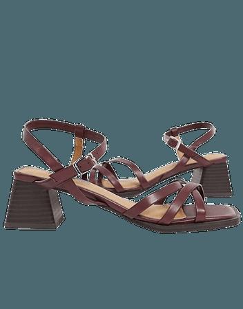 Topshop block heel sandals in burgundy | ASOS