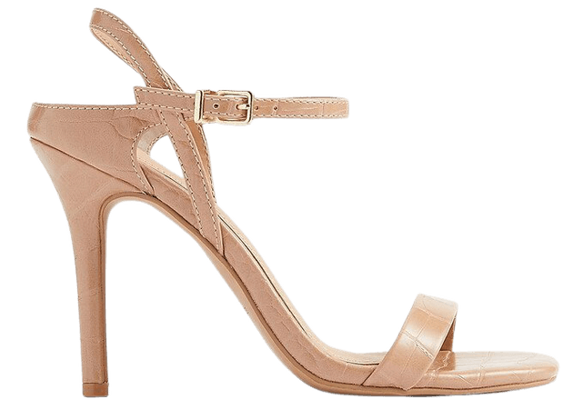 Textured Low Back Heeled Sandals