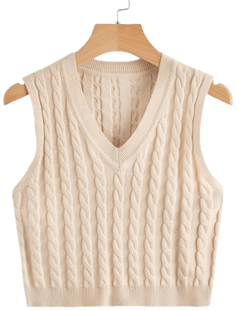 Cable Knit Sweater Vest | SHEIN USA cream