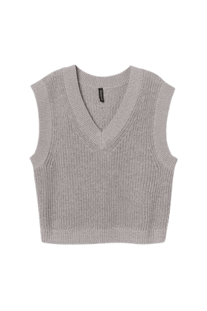 Ribbed Sweater Vest - Gray - Ladies | H&M US