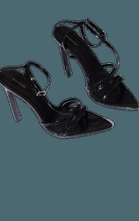 Black Snake Pu Strappy Stiletto Heel Sandals   PrettyLittleThing USA