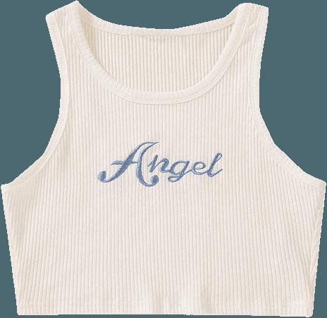 Floerns Women's Letter Print Sleeveless Rib Knit Crop Tank Top White M at Amazon Women's Clothing store