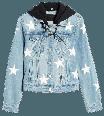BLANKNYC Star Patch Hooded Denim Jacket | Nordstrom
