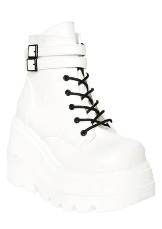 White Platform Wedge Rave Boots | Dolls Kill
