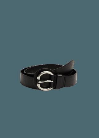Rounded buckle leather belt - Women | Mango USA