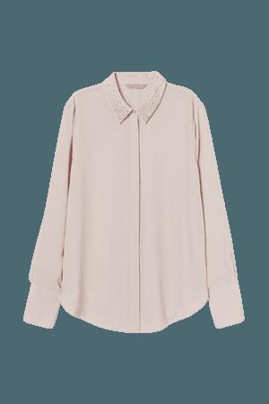 Bead-embellished Blouse - Pink