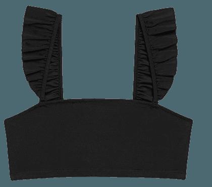 Frilly straps bikini top - Black - Bikinis - Monki WW