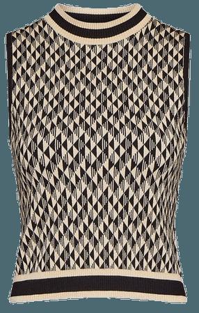 Jacquard Knitted Tank Top | Karen Millen