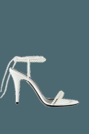 White Luna faux pearl-embellished leather sandals | SAINT LAURENT | NET-A-PORTER