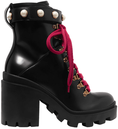 Black Faux pearl-embellished leather ankle boots | Gucci | NET-A-PORTER