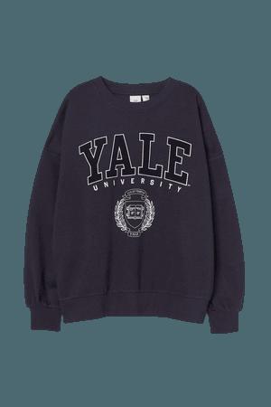 Sweatshirt with Printed Design - Dark blue/Yale - Ladies | H&M US
