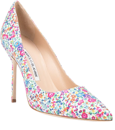 Shop multicolour Manolo Blahnik BB floral pointed pumps with Express Delivery - Farfetch