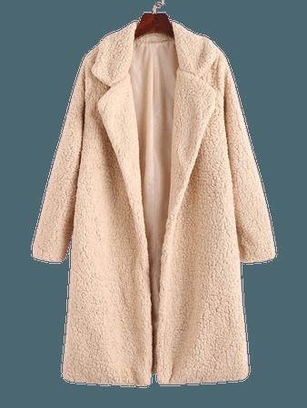 [36% OFF] [POPULAR] 2020 Open Front Faux Shearling Longline Teddy Coat In APRICOT | ZAFUL
