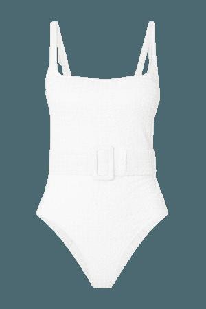 Cassandra Belted Seersucker Swimsuit - White