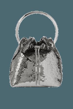 Bon Bon Sequined Satin Tote - Silver