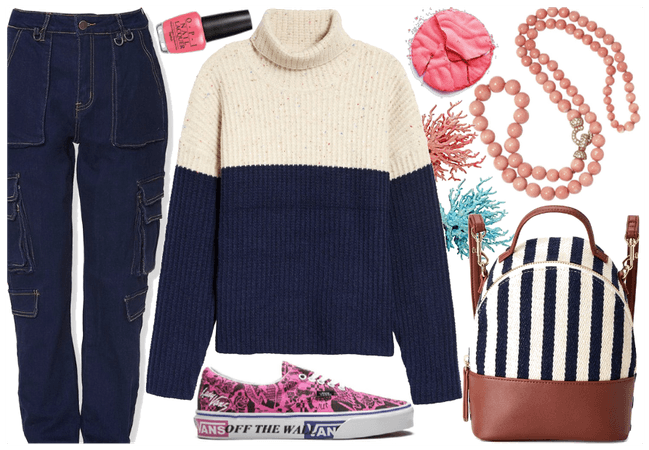 navy & white & coral pink