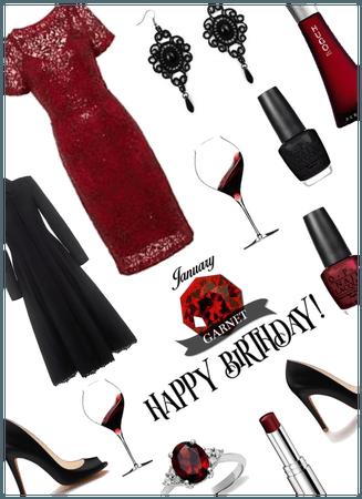 January Birthstone Garnet/Birthday Night out look