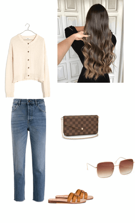 cream button up sweater neutrals fall outfit