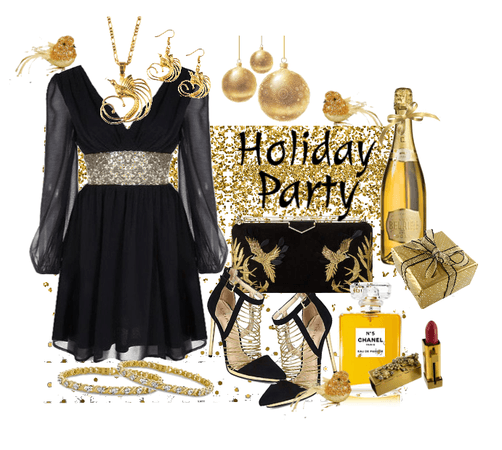 Black Dress with Gold -- Holiday Party