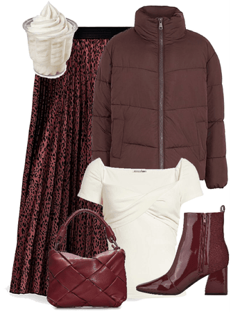 brownish maroon and white chic