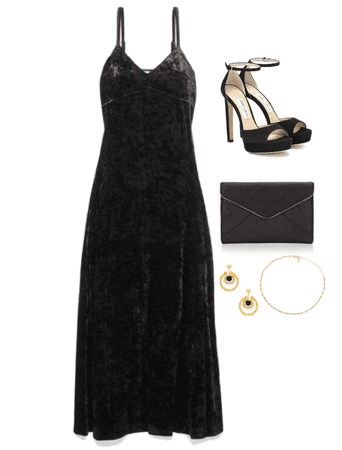 Long black simple dress 👗