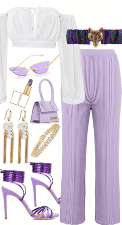 lavender pleated pants look