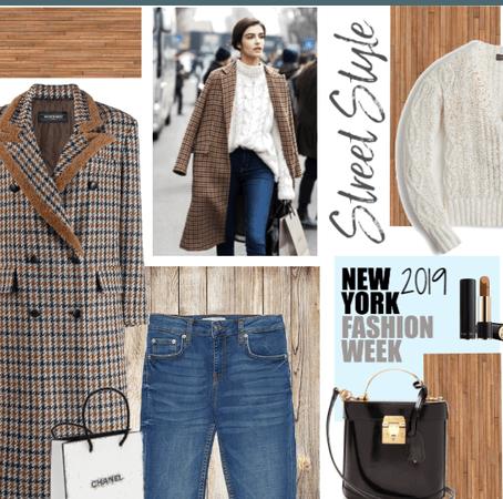 Simple Fall Street Style - Tartan wool coat