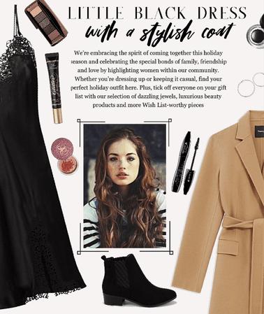 little black dress with a wintery twist