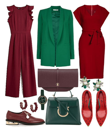 dark red/green