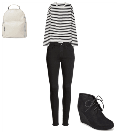White and black out fit