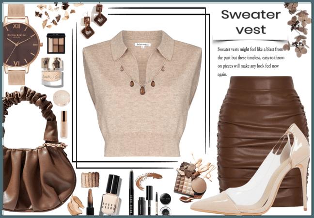 Nude sweater vest