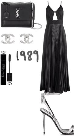classy black dress silver ysl diamond 1989