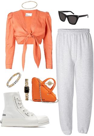 with orange laces