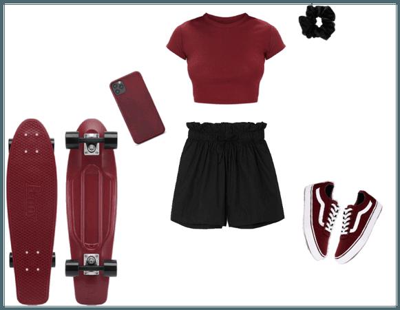 Burgundy Skate Outfit
