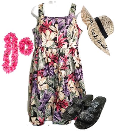 Hilo Hattie Vintage Hawaiian Floral Babydoll Dress