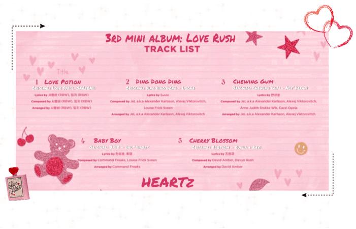 {HEARTz}3rd Mini Album: LOVE RUSH Tracklist