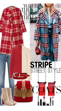 Oversized Stripe Street Style Coats