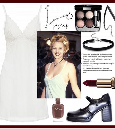PISCES STYLE: Drew Barrymore's Slip Dress Look